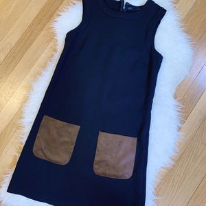 Zara Navy Sleeveless Dress with Suede Pockets